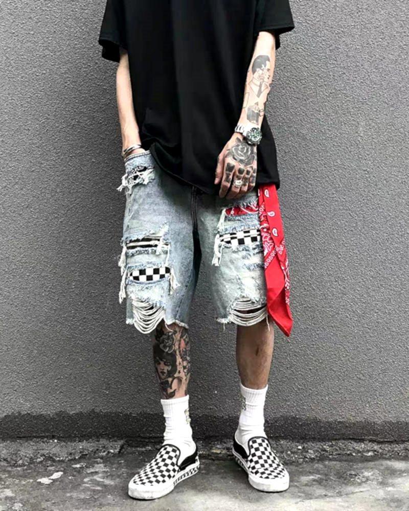 デストロイバンダナチェックデニムショートパンツ ハーフパンツ メンズの商品画像3